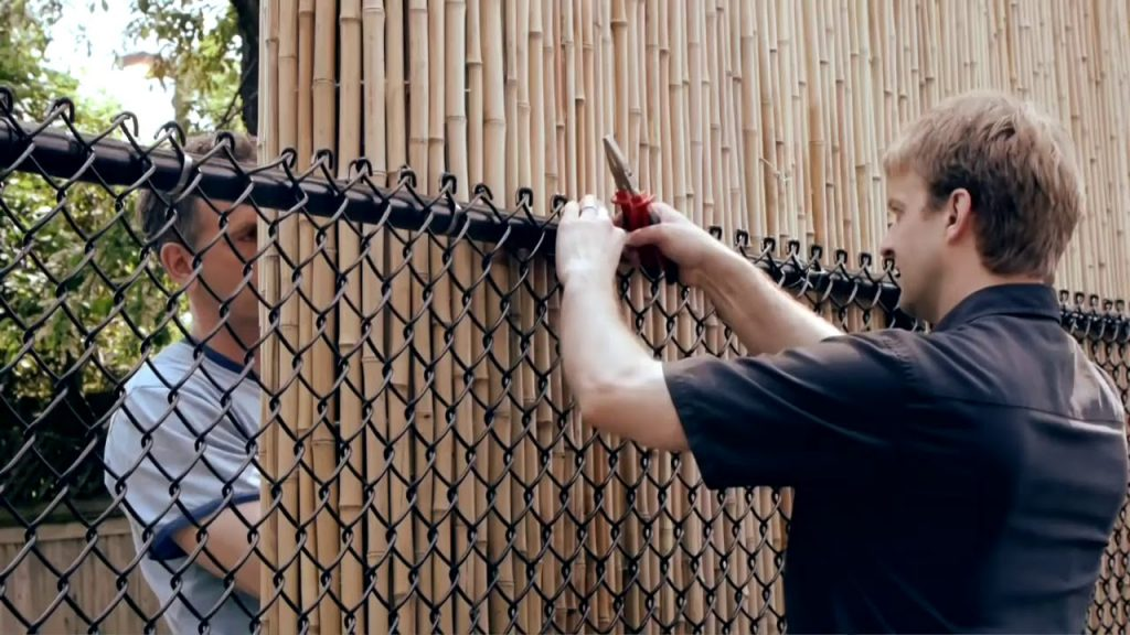 how to install bamboo fence on chain-link