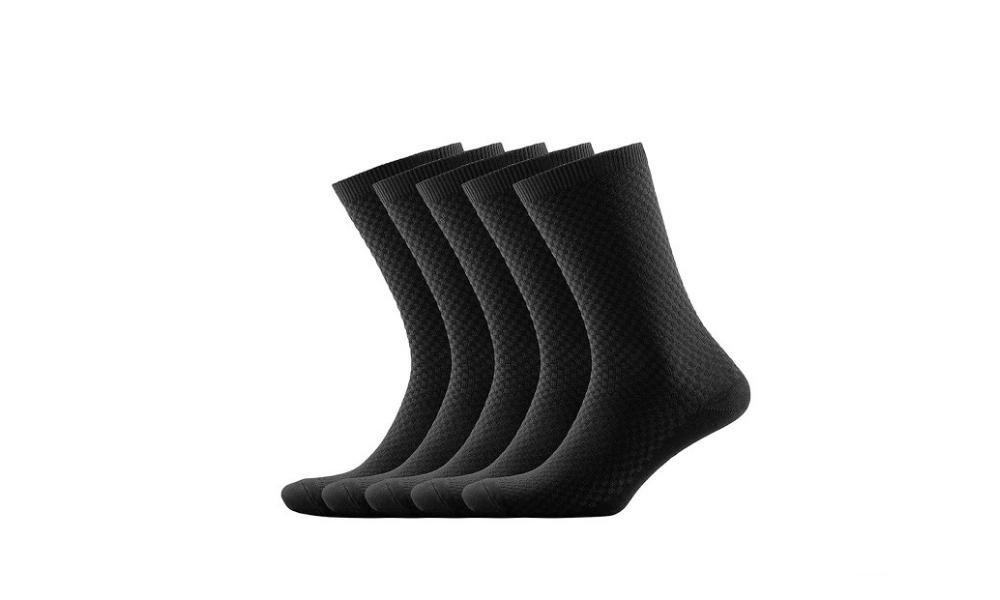 NUDUS Men's Bamboo Ankle Socks, Black (Five Pack)